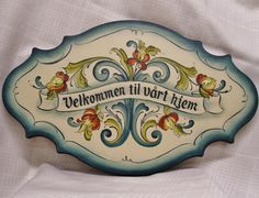 Lovely Telemark Style Rosemaled Greeting Plaque. $87.00, via Etsy.