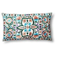 Check out this item at One Kings Lane! Vallejo Suzani 14x24 Pillow, Teal