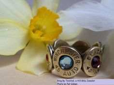 Twisted Peace Bullet Band Ring, Birthstones, Mother's & Father's Day, Wedding #Band
