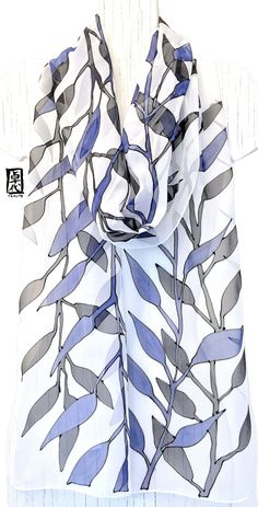 Hand Painted Silk Scarf, Blue and Black Scarf, Japanese Wood Cut Vines Scarf, Silk Scarves Takuyo, Silk Chiffon Scarf, Approx 11x90 inches.