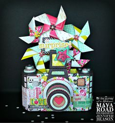 Today I'd like to share an idea using Maya Road's Oh Snap Camera Album. I have a few birthday's coming up, so I decided to turn the album into a base for a birthday centerpiece. Paper Folding Crafts, Paper Crafts, Diy Crafts, Mini Scrapbook Albums, Mini Albums, It's Your Birthday, Birthday Cards, Surprise Birthday, Birthday Centerpieces