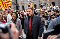 Leader of the Pro-Independence political party Esquerra Republicana de Catalunya (ERC) Oriol Junqueras arrives to the Palau de la Generalitat, Building of the Catalonia's Government, on September 27, 2014 in Barcelona, Catalonia. President of Catalonia Artur Mas has signed the decree to call for a self-determination referendum from Spain on November 9.