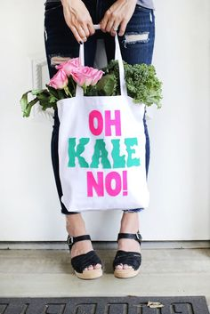"""Oh Kale No!"" - a DIY shopping bag."
