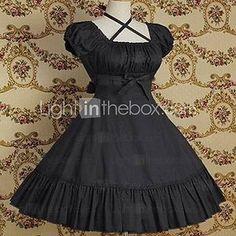 À manches courtes mi-longueur pur coton Couleur Classique Robe Lolita - CAD $69.49