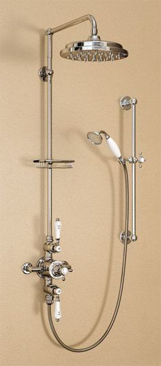 Have a look at what we just added to our collection of traditional shower. We already love it. http://www.victorianplumbing.co.uk/Burlington-Avon-Thermostatic-Valve-with-Riser-Slide-Shower-Kit-Claremont-Tap-H17-CL.aspx