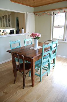 ok, what if I kept the dark stain on the table and painted the chairs AS provence, hutch white....driving myself batty.