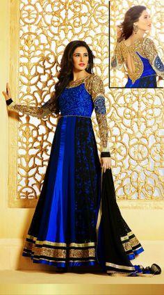 64d4b73efde Nargis Fakhri In Blue And Black Anarkali Suit 2FD3179350 Black Anarkali