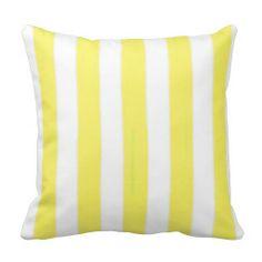 Girls Yellow Cabana Stripe Pillow #throwpillow #zazzle