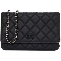 Pre-owned Chanel Black Quilted Lambskin Wallet On Chain WOC SHW found on Polyvore featuring bags, purses, clutches, handbags and purses, chain strap handbag, black handbags, quilted handbags, chain purse и pre owned handbags