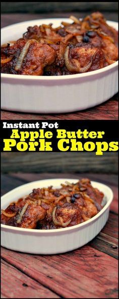 Instant Pot Apple Butter Pork Chops may be my favorite pressure cooker recipe so far!  These pork chops usually take me ALL day to cook in the crock pot!  Not anymore!  SO GOOD!  We always shred the leftovers and mix with bbq sauce for sammies or topping baked potatoes! YUM!