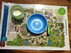 Take a favorite map (we used Zoo) and laminate for a great place mat - for food or play(doh) or anything. Great gift idea too!