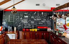 15 Whimsical Kitchen Designs with Chalkboard Wall Wooden Kitchen, Kitchen Decor, Kitchen Art, Rustic Kitchen, Kitchen Backsplash, Chalkboard Wall Kitchen, Chalkboard Walls, Chalk Wall, Chalk Board