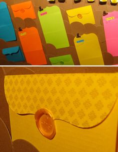 Neon Self Mailers - love the gold with the neon