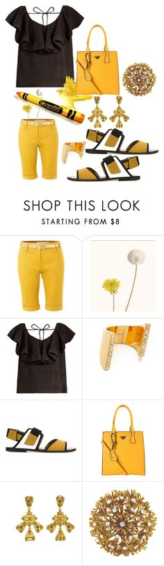 """Dandelion Got Fired"" by michelle858 ❤ liked on Polyvore featuring LE3NO, CECILIE Copenhagen, Vita Fede, Marni, Diophy, Oscar de la Renta and David Webb"