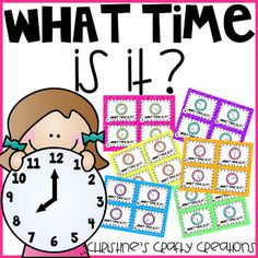 24 time task cards with answer key and student recording sheets included. I also included 4 posters: o'clock, quarter past, half past, and quartet til with times to show as an example (1:00, 2:15, 3:30, and 4:45). These task cards are great for earlier finishers, small group instruction, whole group... First Grade Activities, Group Activities, Math Lesson Plans, Math Lessons, Math Stations, Math Centers, Teaching Resources, Teaching Ideas, Teaching Math