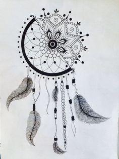 dessin de capteur de rêve - idée de tatouage et déco hippie