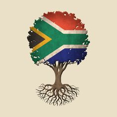 Tree of Life with South African Flag Heritage Day South Africa, South Africa Art, South African Flag, African Flags, Nigeria Flag, African Tattoo, Flag Art, Africa Travel, Meaningful Tattoos