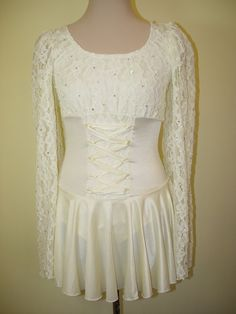 Ice Figure Skating Dress Off white or cream by HauteIceCouture, $225.00 Figure Skating Competition Dresses, Figure Skating Outfits, Figure Skating Costumes, Ice Princess, Beautiful Costumes, Lace Bodice, Ice Skating, Dress Ideas, New Dress