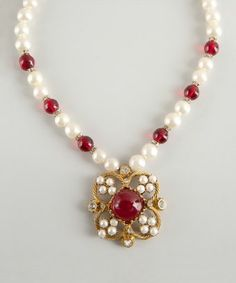 Chanel : gold, ruby red and faux pearl flower pendant vintage necklace
