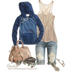 navy hoodie, created by stacy-gustin on Polyvore
