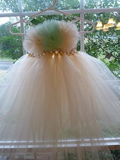 Cream Tutu Dress with Mint Green Accents  size by RootsWingsKids, $40.00