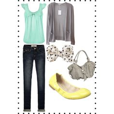 """Mint / Yellow Casual"" by khend on Polyvore"