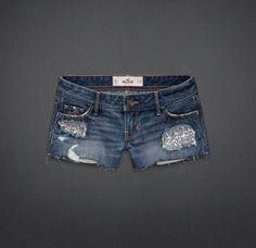 Sequined ripped short shorts darkwash