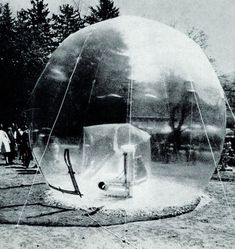 """cavernedeplaton:  """"By Walter Pichler, architect and designer in Vienna, a transparent inflatable sculpture (Grosser Raum, 1966) shown in a transparent sphere, in Kapfenberg Park, Austria, in the spring.  """""""