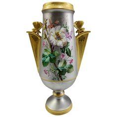 Antique Aesthetic Movement French Enameled and Platinum Porcelain Vase Porcelain Jewelry, Porcelain Vase, Fine Porcelain, Painted Porcelain, Aesthetic Movement, Painted Books, China Painting, Decorative Objects, Decorative Vases