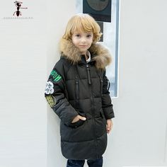 >> Click to Buy << Boys Duck Down Hooded Winter Long Thick Black Red Green Fur Cool Down Coat Children's Warm Jacket Kids Parkas GS501 #Affiliate