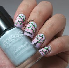Cherry Blossoms nail art