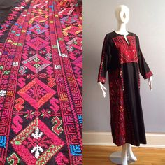 Vintage Hand Embroidered Ethnic Caftan Long Draped