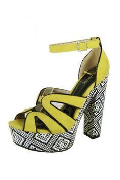 YELLOW PATTEREND PLATFORM SANDAL @ KiwiLook fashion