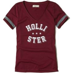 Hollister Logo Graphic Tee (1.160 RUB) ❤ liked on Polyvore featuring tops, t-shirts, burgundy, retro sports t shirts, red striped t shirt, v-neck tee, red tee and red t shirt