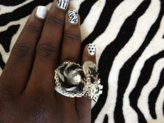 black and white robot spiral ring