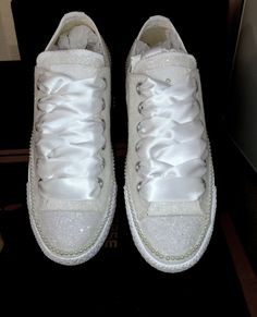 Converse all star sparkly ALL WHITE glitter PEARLS chucks sneakers shoes wedding gift mrs bride groom i do date decals by CrystalCleatss on Etsy Chucks Wedding, Wedding Sneakers, Wedding Shoes, Diy Fashion, Fashion Ideas, Wedding Gifts, Wedding Ideas, Mormons, Dream Chaser