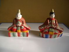 Japanese antique clay Hina doll set The Emperor and The Empress