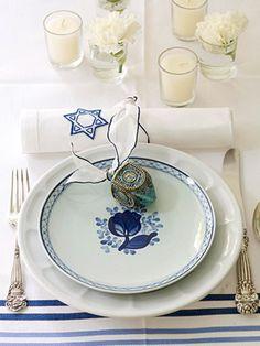 Chanukah table setting.
