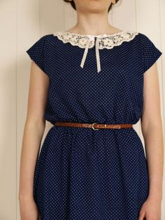 ♥CUTE NAVY DRESS.LACE COLLAR