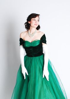 Vintage 1940s Formal Dress - 40s Prom Gown - Emerald Green