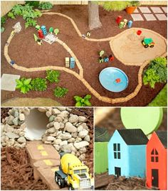 Use stone pavers, pvc pipe, and wood scraps to create an awesome outdoor race track for cars, plus a sandbox for trucks!