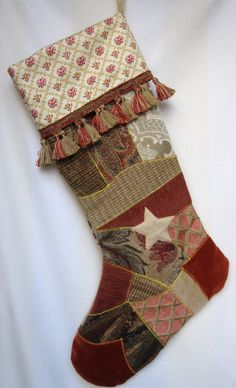 Victorian crazy quilt Christmas stocking $ 48.00, via Etsy.