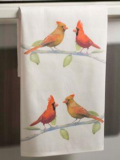 Cardinals Watercolor Tea Towel Retro Modern by Paperlore on Etsy