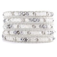 Chan Luu - White Mix Crystal Wrap Bracelet on Natural White Leather, $170.00 (http://www.chanluu.com/wrap-bracelets/white-mix-crystal-wrap-bracelet-on-natural-white-leather/)