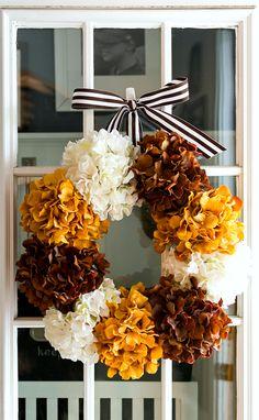 Fall Decoration Ideas - DIY Hydrangea Wreath for Fall