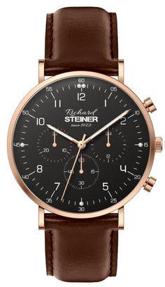 Richard Steiner Generation One Watch Brands, Gentleman, Leather, Accessories, Designer Clocks, Pointers, Leather Cord, Branding, Brand Name Watches