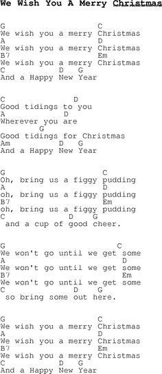 Christmas Songs And Carols Lyrics With Chords For Guitar Banjo For We Wish You A Merry Christm Christmas Ukulele Songs Christmas Carols Songs Christmas Lyrics