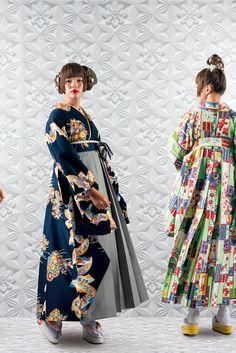 Yukata Kimono, Kimono Dress, Traditional Kimono, Traditional Dresses, Kimono Fashion, Fashion Outfits, Modern Hanbok, Modern Kimono, Summer Kimono