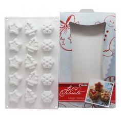 Molde Silicona, 15 Figuras de Invierno. Molde para velas y jabones con 15 formas diferentes, abeto, estrellita y estrella de nieve, ideal para manualidades de navidad. DIY. Disponible en Gran Velada.