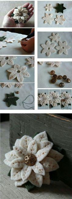 ideas flowers fabric diy brooches for 2019 Felt Flowers, Diy Flowers, Fabric Flowers, Paper Flowers, Felt Crafts, Fabric Crafts, Sewing Crafts, Felt Christmas, Christmas Crafts